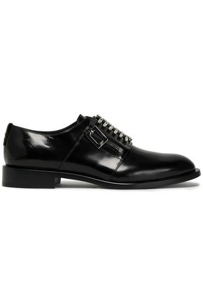 ROGER VIVIER Crystal-embellished glossed-leather brogues