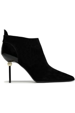 ROGER VIVIER Embellished patent-leather and suede ankle boots