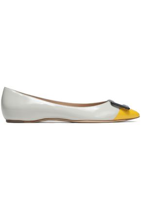ROGER VIVIER Buckle-embellished color-block leather ballet flats