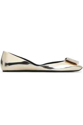 ROGER VIVIER Crystal and buckle-embellished mirrored-leather ballet flats