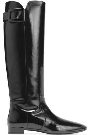 ROGER VIVIER Buckled glossed-leather boots