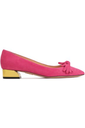 CHARLOTTE OLYMPIA Bow-embellished suede pumps