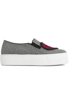 CHARLOTTE OLYMPIA Appliquéd houndstooth woven platform slip-on sneakers