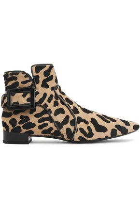 ROGER VIVIER Buckled leopard-print calf hair ankle boots