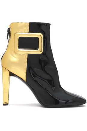 ROGER VIVIER Two-tone metallic patent-leather ankle boots