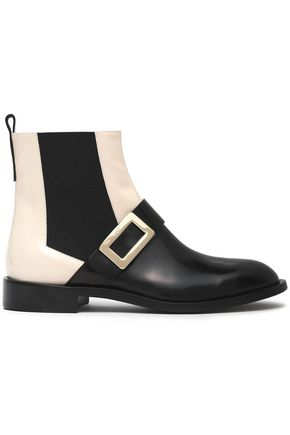 ROGER VIVIER Buckle-embellished two-tone leather ankle boots