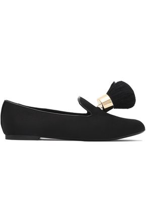 ROGER VIVIER Leather-trimmed tasseled velvet slippers
