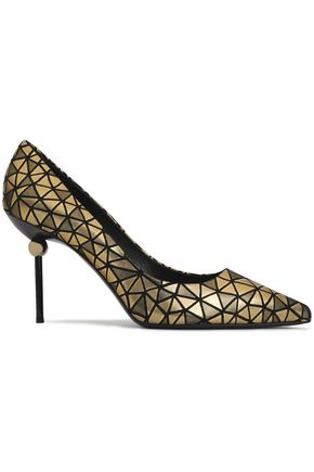 ROGER VIVIER Embellished printed  leather pumps
