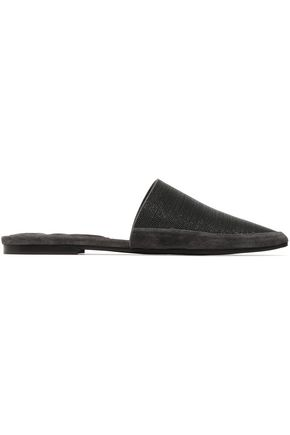 BRUNELLO CUCINELLI Suede-trimmed bead-embellished leather slippers