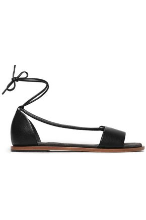 BRUNELLO CUCINELLI Bead-embellished lace-up leather sandals