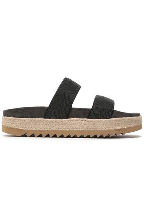 BRUNELLO CUCINELLI Bead-embellished leather slides