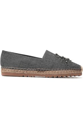 BRUNELLO CUCINELLI Crystal and bead-embellished denim espadrilles