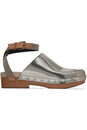 BRUNELLO CUCINELLI Bead-embellished smooth and mirrored-leather clogs