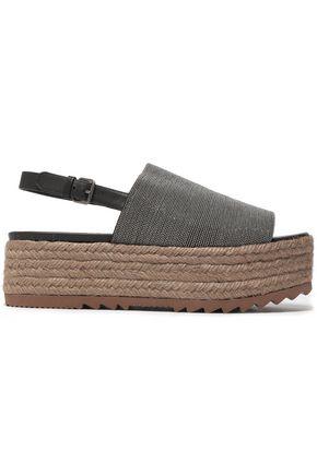 BRUNELLO CUCINELLI Bead-embellished leather platform espadrille sandals