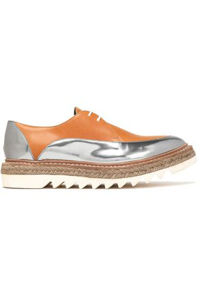 BRUNELLO CUCINELLI Smooth and mirrored-leather espadrille platform brogues