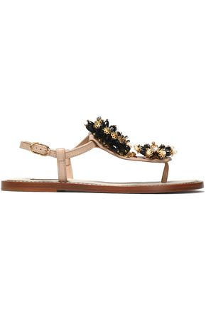 DOLCE & GABBANA Embellished snake-effect leather sandals