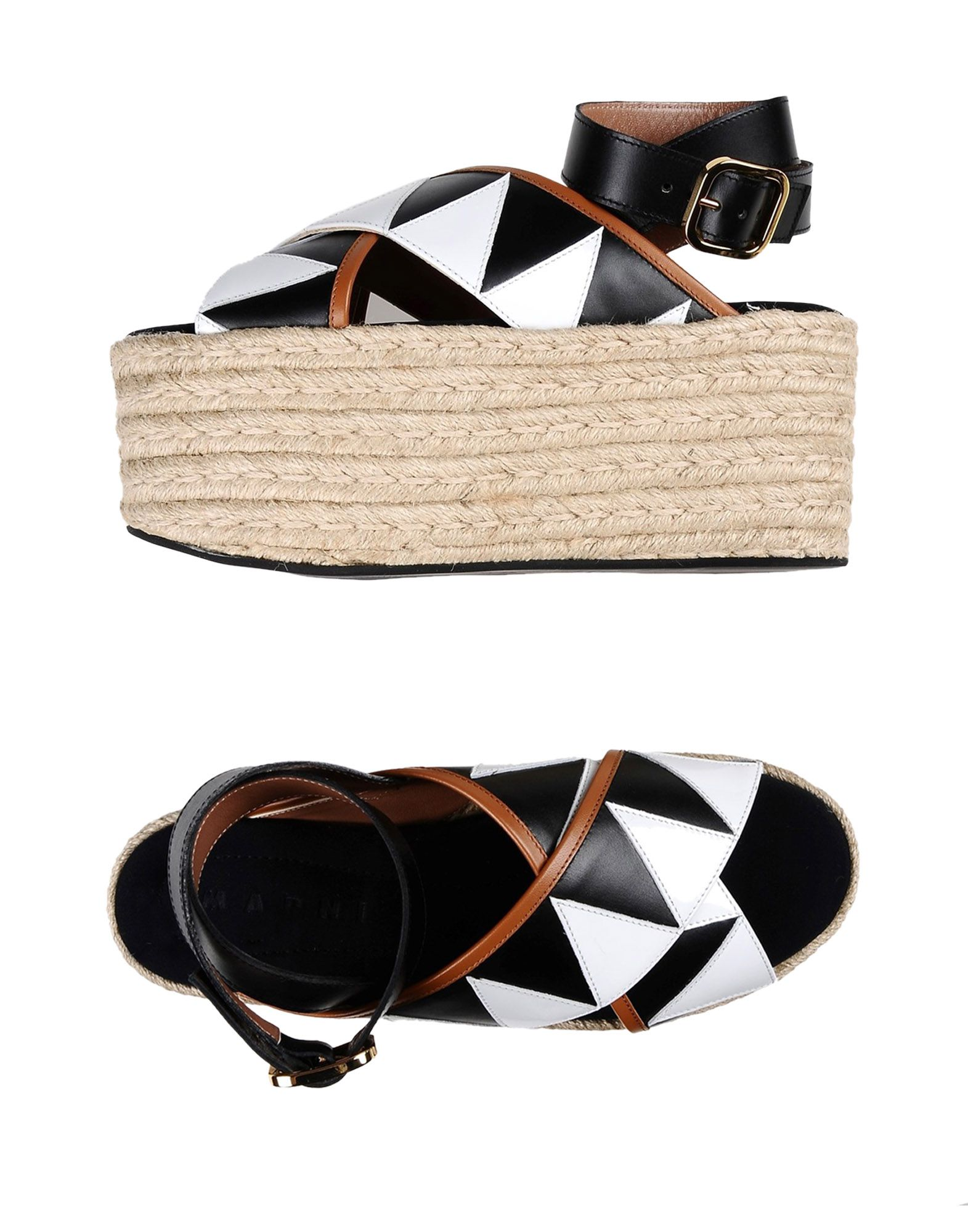 MARNI Espadrilles. no appliqués, multicolor pattern, buckle, round toeline, wedge heel, rope wedge, leather lining, rubber sole, contains non-textile parts of animal origin. Soft Leather