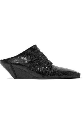 RICK OWENS Glossed cracked-leather wedge mules