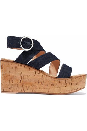 GIANVITO ROSSI Denim and cork wedge sandals