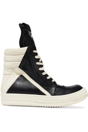 RICK OWENS Geobasket two-tone leather high-top sneakers