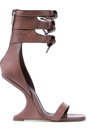 RICK OWENS Cutout knotted leather wedge sandals