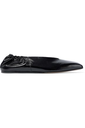 RICK OWENS Geo glossed-leather ballet flats