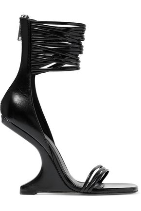 RICK OWENS Cutout leather wedge sandals