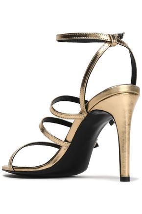 MAJE Buckled embellished metallic leather sandals