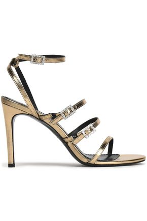 MAJE Buckled embellished metallic leather sandals