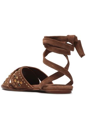 MAJE Lace-up studded suede sandals
