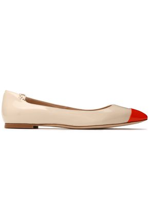 TORY BURCH Two-tone patent-leather point-toe flats