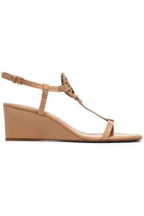 TORY BURCH Miller laser-cut leather wedge sandals