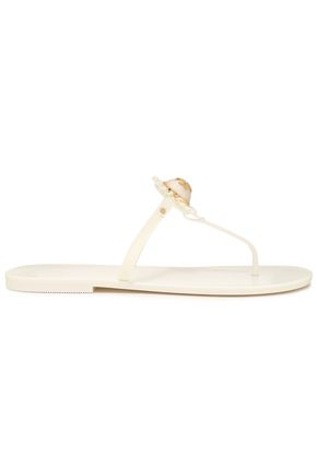 TORY BURCH Faux pearl-embellished rubber flip flops