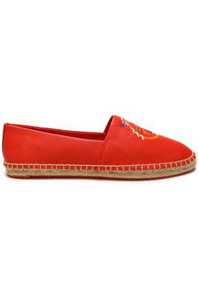 TORY BURCH Embroidered leather espadrilles