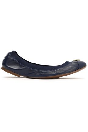 TORY BURCH Embellished smooth and patent-leather ballet flats