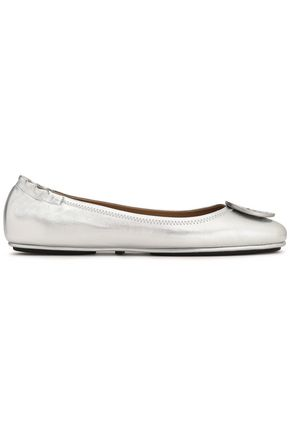 TORY BURCH Embellished metallic leather ballet flats