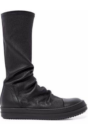 RICK OWENS Textured stretch-leather sock boots