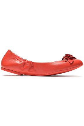 TORY BURCH Floral-appliquéd leather ballet flats