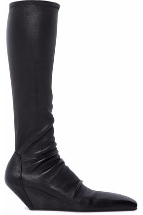 RICK OWENS Stretch-leather wedge knee boots