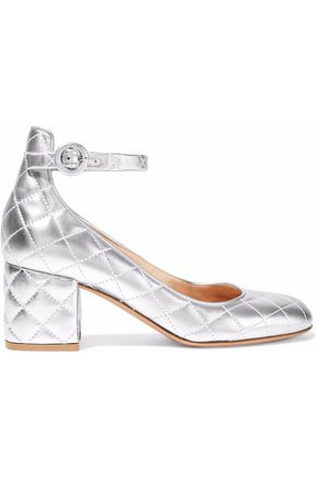 GIANVITO ROSSI Metallic quilted leather pumps