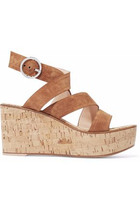 WOMAN DENIM AND CORK WEDGE SANDALS CAMEL
