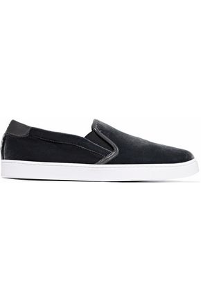 GIANVITO ROSSI Venice leather-trimmed velvet slip-on sneakers