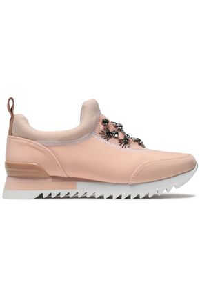 TORY BURCH Embellished suede and neoprene sneakers