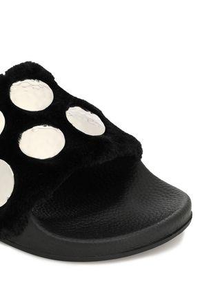 MAJE Embellished faux fur slides