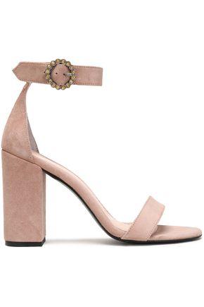 MAJE Crystal-embellished suede sandals