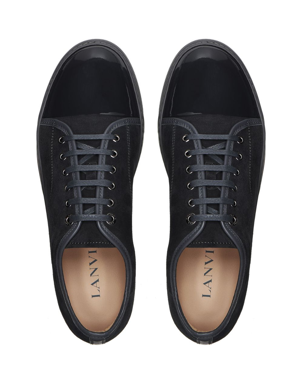 DBB1 SUEDE AND PATENT LEATHER SNEAKERS - Lanvin