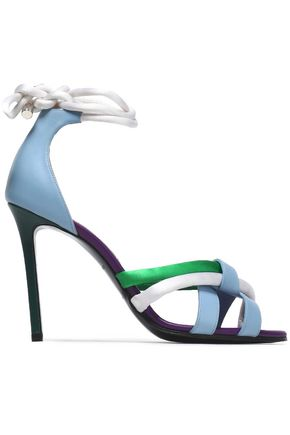 EMILIO PUCCI Lace-up satin and leather sandals
