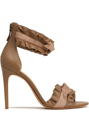 ALEXANDRE BIRMAN Ruffled knotted leather and suede sandals