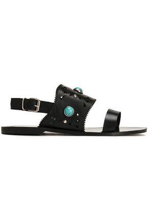 CLAUDIE PIERLOT Studded laser-cut leather sandals