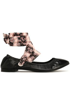 CLAUDIE PIERLOT Floral-print leather ballet flats